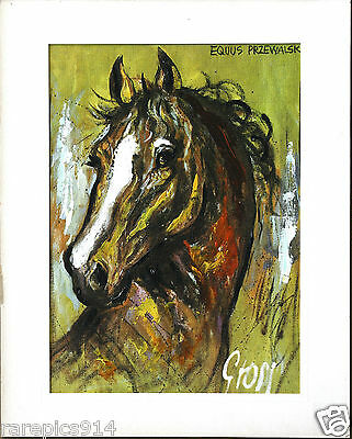Stallion Horse Head Portrait by Grosi Signed Oil Painting on Canvas from 1960s