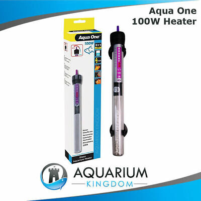 Aqua One 100W Glass Heater Aquarium Watt Fish Tank Automatic Thermostat Control
