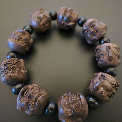Hand Carved Black Sandalwood the Eighteen Disciples of the Buddha Bracelet