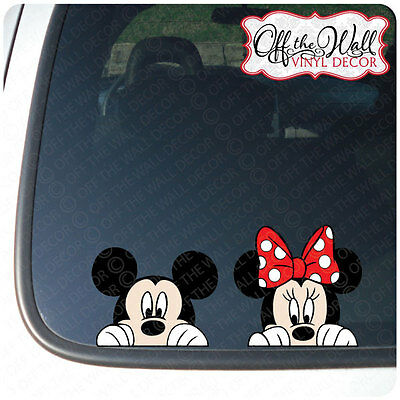 """Mickey and Minnie Mouse Disney """"Peeking"""" Color Vinyl Car Decal"""
