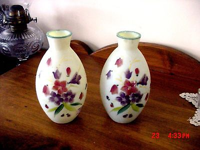 AWESOME MT WASHINGTON HAND PAINTED PAIR OF WEBB BLOWN VASES