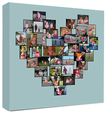 Heart Photo Collage Framed Canvas Personalised