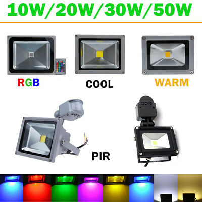 Waterproof 10W 20W 30W 50W LED Flood Light RGB Motion Sensor Outdoor Floodlight