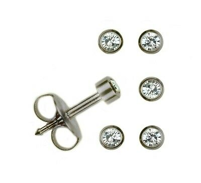 2prs 24K Gold Over Surgical Stainless Ear Piercing  April RD3.0mm Stud Earrings