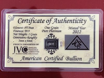 ACB 1 Grain .999 Platinum In C.O.A. + 1 Grain Platinum .999 - 2 GRAINS - TOTAL!!