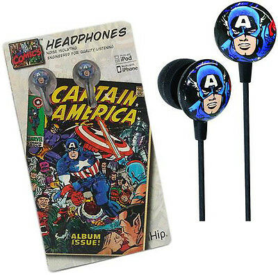 Captain America: Official Marvel Comics iHip Headphones - New In Sealed Pack