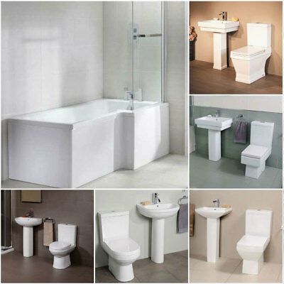 1700 L shape Right Hand Shower Bath Fixed Screen Panels Toilet & Basin Wash Sink