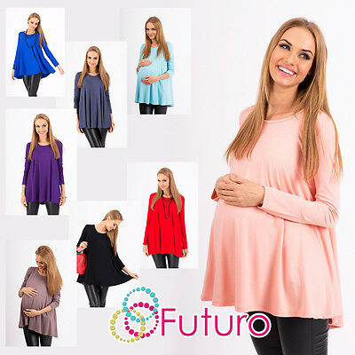Women's Maternity Mini Dress Scoop Neck Pregnancy Top Tunic Sizes 8-18 8538