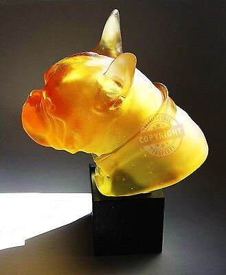 DAUM CRYSTAL AMBER BULLDOG DANDYS CHARLES ON STAND LTD OF 500 FRANCE SIGNED BOX