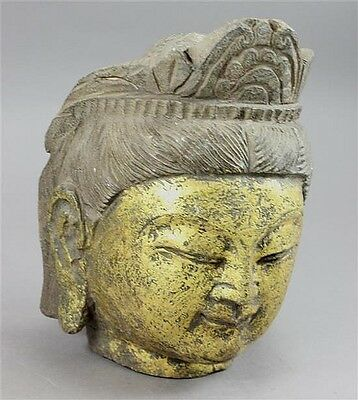 Stone Carved Gilded Asian Buddha Head 10""