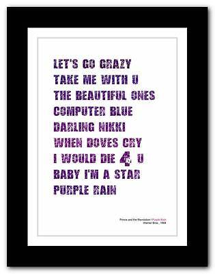 Prince and the Revolution - Purple Rain ❤ typography poster art print - A3 A2