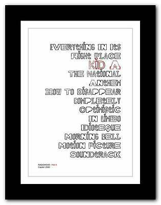 ❤ RADIOHEAD Kid A ❤ typography poster art print - A3 A2 A1 A4