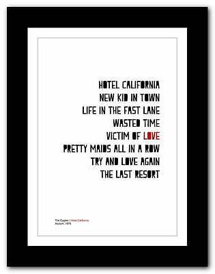 ❤ The Eagles -  Hotel California ❤ typography poster art print - A3 A2 A1 A4
