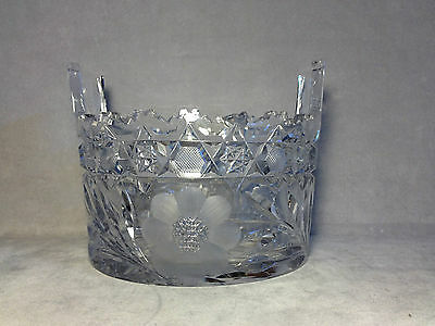 Antique ABP American Brilliant Period Cut Glass Floral Handled Ice Bucket