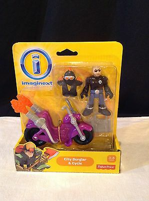 Imaginext  - City Worker - Burglar & Motorcycle - New On Card Fisher Price