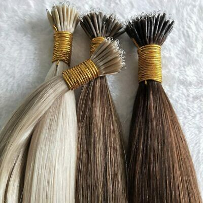 """25Strands 5A 20"""" 0.8g Wavy/Straight Nano Ring Human Hair Extensions-Free Beads"""