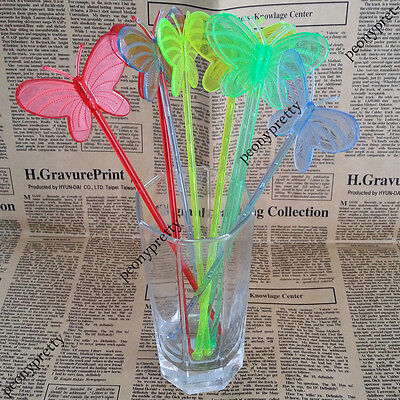 Assorted  colors butterfly drink stirrer cocktail swizzle stir stick party