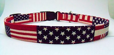 CAT COLLAR Patriotic American Flag,Red,White,Blue PK SZ,Charm&Bell,Handmade USA