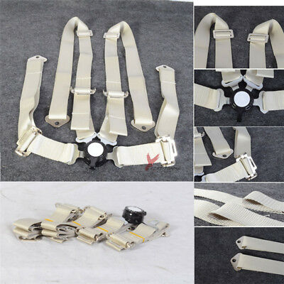Fit 4-Point 2Inch White Light Silver Nylon Strap Harness Safety Racing Seat Belt
