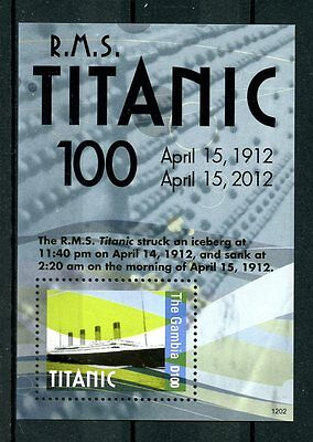 The Gambia 2012 MNH Titanic 100th Anniv Sinking 1v S/S Ships Boats Stamps