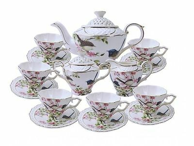 Fine Bone China 15 Piece Blue Wren Tea set