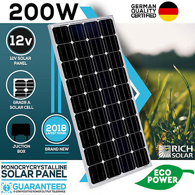 200W Solar Panel Mono 12V Single Power Kit Camping Power Battery Charge Caravan