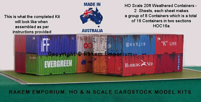 HO Scale Containers Aged Mixed 16 x 20 ft Model Railway Building Kit, HOC16a