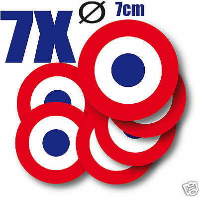 Cocarde Sticker autocollant rond FRANCE Cocarde tricolore  7 cm 7 exemplaires