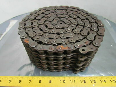 "RS60 No 60-4 Strand Roller Chain 3/4"" Pitch Riveted    Quadruple 7' Length"