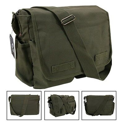 Olive Army Military Messenger Heavyweight Field Canvas Shoulder Laptop Bag Bags