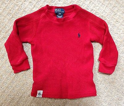 EUC Baby Polo by Ralph Lauren Red Thermal Waffle Shirt-Size 24 Mo.