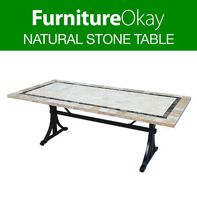 Outdoor Dining Garden Patio Natural Stone Concrete Furniture Rectangle Table