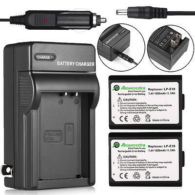 2x LP-E10 LPE10 Battery+ Charger For Canon EOS Rebel T3 T5 1100D Kiss X50 Camera