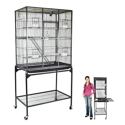 "Brand New Black 62"" Bird Parrot Pet Cage Home Macaws Conures Aviary Flight Finch"