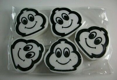 Packet of  FIVE (5) BRAND NEW Michelin Man logo head promo advertising erasers
