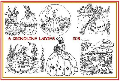 203 ~ 6 Crinoline Ladies Embroidery IRON-ON Transfer patterns