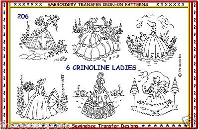 206 NEW 6 Crinoline Lady Embroidery IRON-ON Transfer patterns