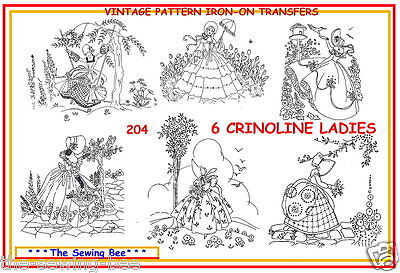 204 - 6 Crinoline lady embroidery IRON-ON transfer patterns