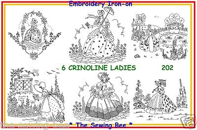 202  new 6 Crinoline Ladies Embroidery IRON-ON Transfer pattern