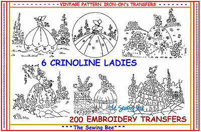 200 ~ 6 Crinoline Ladies  Embroidery IRON-ON Transfer patterns