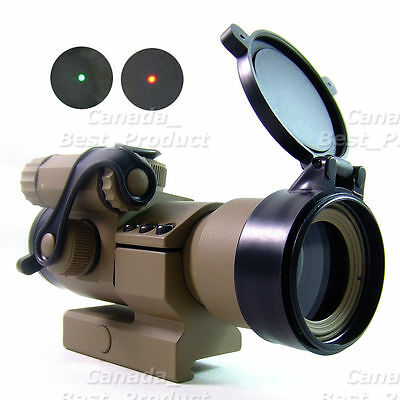 Tactical 1x32mm Cantilever M2 Red/Green Dot Sight Scope w/ L Mount TAN DE Cover
