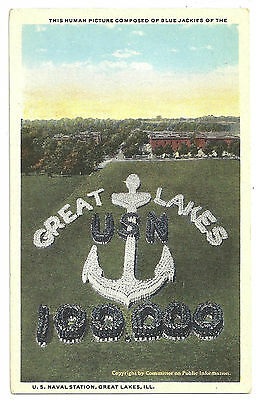 LOT 4 VINTAGE PRE-WORLD WAR II NAVY POSTCARDS GREAT LAKES