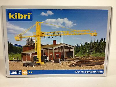 KIBRI Timber Yard & Crane Construction Equipment 1/87 HO Scale NEW #39817