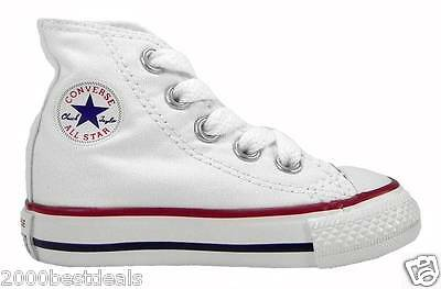 Converse All Star Hi Chuck Taylor Infant Toddler Optical White Canvas Shoe 7J253
