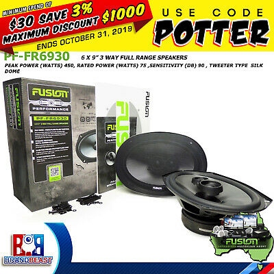 "FUSION PERFORMANCE PF-FR6930 6x9"" 450W CAR AUDIO 3 WAY COAXIAL SPEAKER SYSTEM 6"""