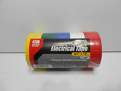 """Gardner Bender 5 Pack Electrical Tape Assorted Colors is 3/4"""" x 12'  UL Listed"""