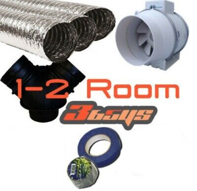 2 Room 150mm Turbo Fan Heat Transfer Kit - Inline Fan Turbo Kit-Air Transfer Kit