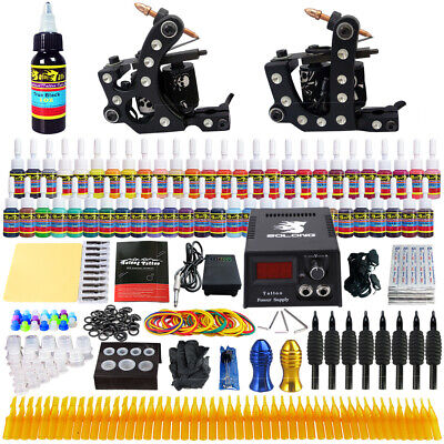 Complete Tattoo Kit 2 Professional Machine Guns 54 Inks Power Supply NeedleTK256