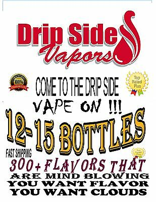 12 FLAVORS-15 ml BOTTLES Total of 180ML PREMIUM E-JUCE  MADE IN USA  176 FLAVORS