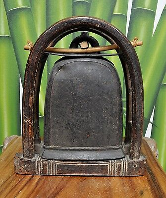 BRONZE ELEPHANT BELL WITH STAND AUTHENTIC ANTIQUE RUSTIC RARE BURMESE